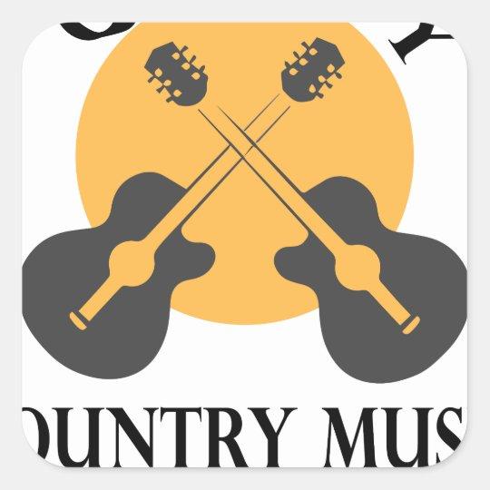 Schrulliges Countrymusik-Lied betitelt Tag Quadratischer Aufkleber