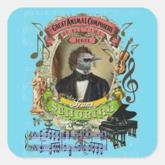 Schubird lustiger Vogel-Tierkomponisten Schubert Quadratischer Aufkleber