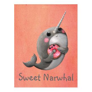 Schüchternes Narwhal mit Krapfen Postkarte