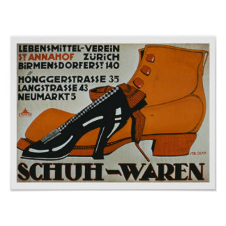 """Schuh-Geschäfte"", Zürich (Farbelitho) Poster"
