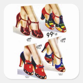 Schuhe der Retro die Vintagen Frauen der Quadratischer Aufkleber