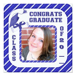 SchulAbschluss-Mitteilung, Einladungs-Blau Karte