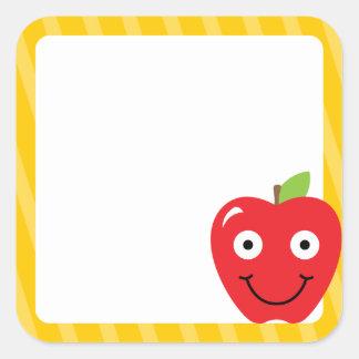 Schulaufkleber mit Apple des Lehrers Quadratischer Aufkleber