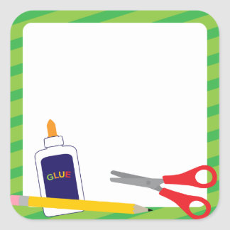 Schulaufkleber mit Zeichenstiften und Kleber Quadratischer Aufkleber