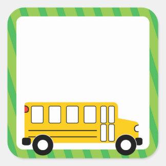 Schulbus-Aufkleber Quadratischer Aufkleber