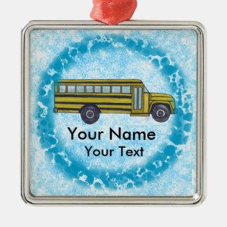 Schulbus-Name-Quadrat-Verzierung Silbernes Ornament