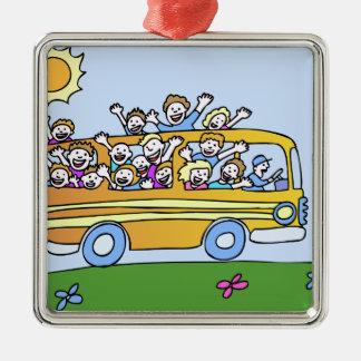 Schulbus-Reiter-Cartoon Silbernes Ornament