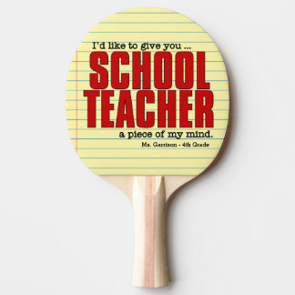 Schullehrer-Stück lustigen Gewohnheit der Tischtennis Schläger