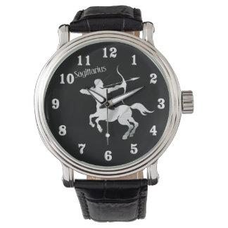 Schütze-silberner Bogenschütze-Tierkreis Armbanduhr