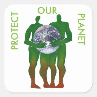 Schützen Sie unsere Planetenaufkleber Quadratischer Aufkleber