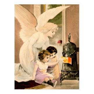 Schutzengel, Kinder und Feuer Postkarte