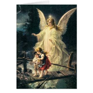 Schutzengel mit zwei Kinder auf Brücke Karte