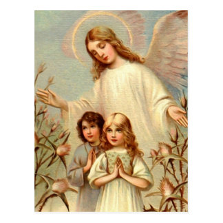 Schutzengel und Betende Kinder und Distel Postkarte