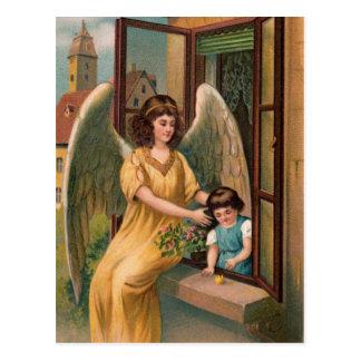 Schutzengel und Mädchen am Fenster Postkarte