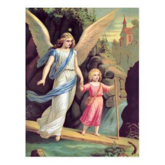 Schutzengel und Mädchen Postkarte