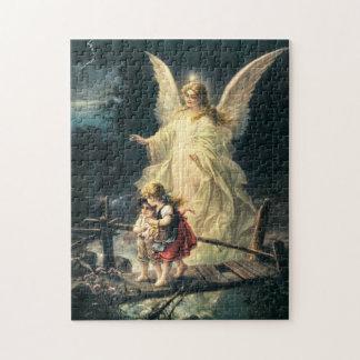Schutzengel und zwei Kinder auf Brücke