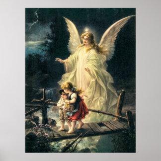 Schutzengel und zwei Kinder auf Brücke Poster
