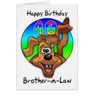 Schwager-48. Geburtstags-Karte - Cartoon-Hund Karte