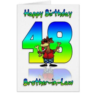 Schwager-48. Geburtstags-Karte - Hund mit zwei B Karte