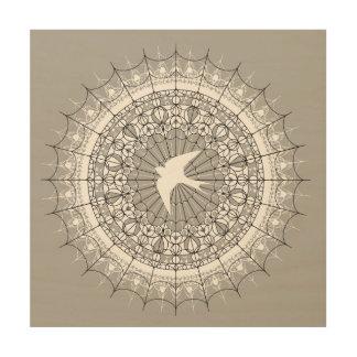 Schwalben-im Flug Mandala-Wand-Kunst Holzdruck