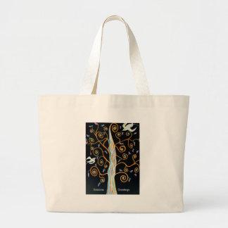 Schwalben und Baum Frohe Festtage Jumbo Stoffbeutel