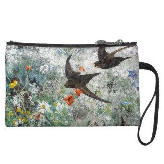 Schwalben-Vogel-Tier-Blumen Sueded Kupplung Velour Wristlet Geldbörse