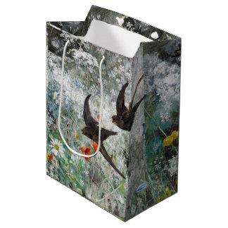 Schwalben-Vogel-Wildblume-Blumen-Geschenk-Tasche Mittlere Geschenktüte