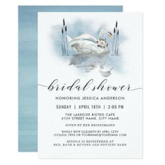 Schwan auf dem Seewatercolor-Brautparty Karte