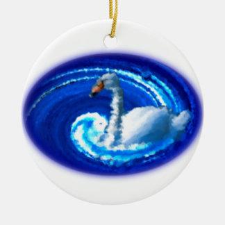 Schwan im Wirbel Rundes Keramik Ornament