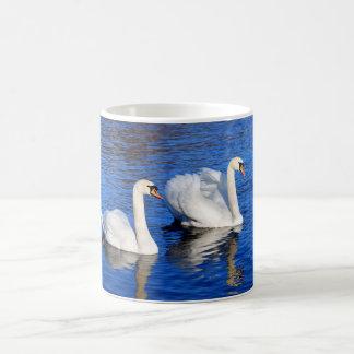 Schwäne im blauen Seewasser Foto Kaffeetasse