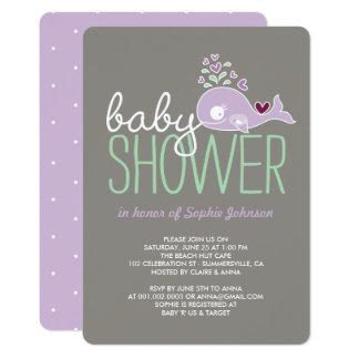 Schwangere lila Mama-Wal-Mädchen-Babyparty laden 12,7 X 17,8 Cm Einladungskarte
