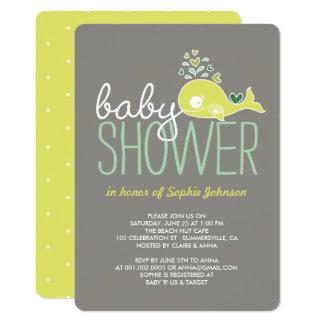 Schwangere Mama-Wal-Mädchen-Jungen-Babyparty laden 12,7 X 17,8 Cm Einladungskarte