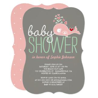 Schwangere rosa Mama-Wal-Mädchen-Babyparty laden 12,7 X 17,8 Cm Einladungskarte