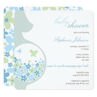 Schwangerschaft u. blaue quadratische 13,3 cm einladungskarte