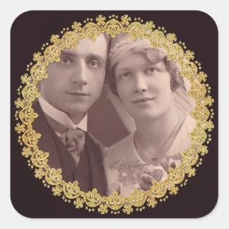 Schwarz-u. Goldjahrestags-Hochzeits-Foto-Aufkleber Quadratischer Aufkleber