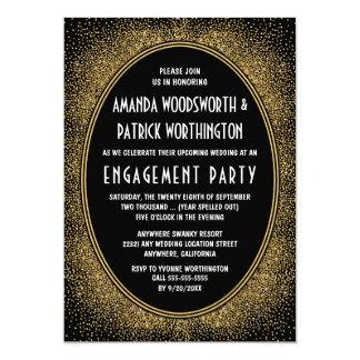 Schwarz-u. Goldkunst-Deko-Verlobungs-Party 12,7 X 17,8 Cm Einladungskarte