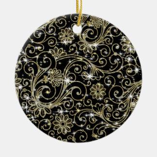 Schwarz-u. GoldWirbel Keramik Ornament