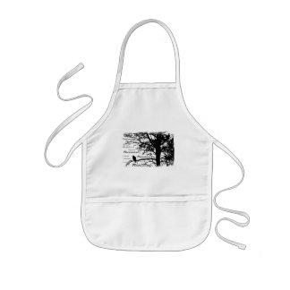 Schwarz u. Weiß Raven Nevermore Silhouette-Baum Kinderschürze