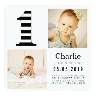Schwarz u. Weiß Stripes 1. Geburtstags-Foto-Karten Quadratische 13,3 Cm Einladungskarte