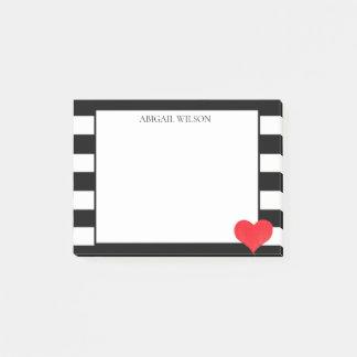 Schwarz u. Weiß Stripes das rote personalisierte Post-it Klebezettel