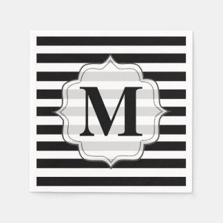 Schwarz u. Weiß Stripes Monogramm-Servietten