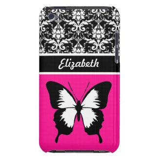 Schwarz u. weiß u. rosa mit den Flügeln kundenspez iPod Touch Case