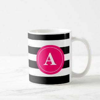 Schwarz-und Pink-Streifen-Monogramm-Kaffeetasse Kaffeetasse