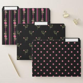 Schwarz-und Rosa-Girly Muster-Datei-Ordner-Set Papiermappe