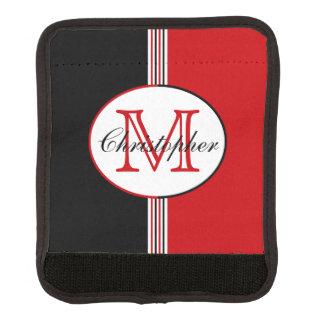 Schwarz und Rot Stripes Monogramm Gepäck Markierung