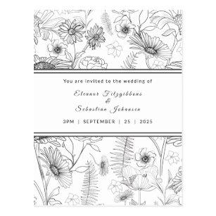 Schwarz-Weiß-Blume Hochzeit Postkarte