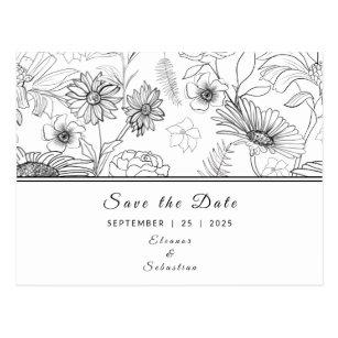 """"""""""" Schwarz-Weiß-Farbmuster der Blume Postkarte"""