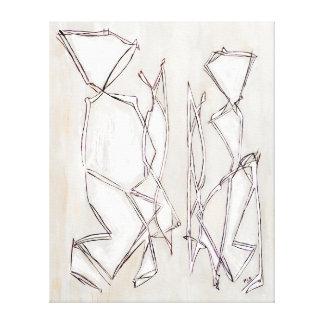 Schwarz-weiße abstrakte Kunst-Paare Lux Belkadi Leinwanddruck
