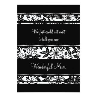 Schwarz-weiße Blumenentlaufen-Mitteilungs-Karten 12,7 X 17,8 Cm Einladungskarte