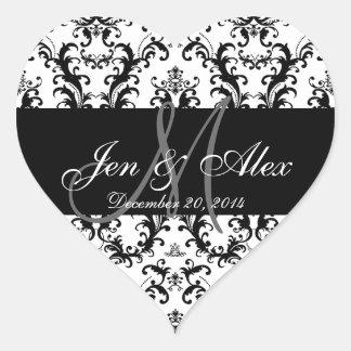 Schwarz-weiße Damast-Hochzeits-Bevorzugungs-Aufkle